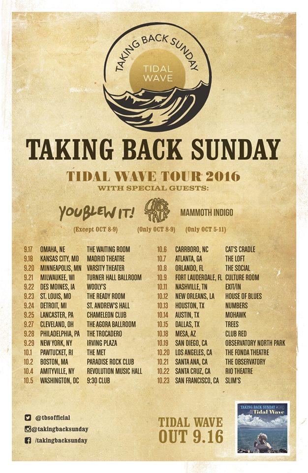 Taking Back Sunday 2016 Tour